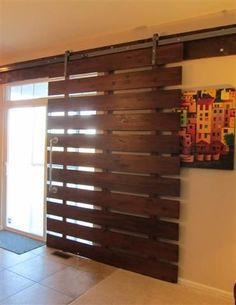 Installing interior barn door hardware can transform the look of your room. Read these steps in buying interior barn door hardware. Sweet Home, Pallet Projects, Home Projects, Pallet Ideas, Diy Casa, Interior Barn Doors, Patio Doors, Entry Doors, Patio Door Blinds