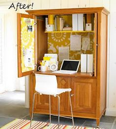 Turn your tv/entertainment hutch into a hide-away office