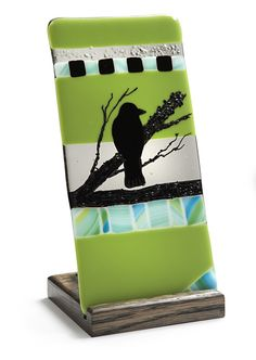Fused Glass Bird Candle Holder by JulieKeller on Etsy