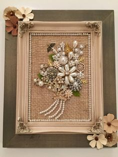 Vintage shabby chic jeweled pearl flower bouquet framed gift Jewelry Frames, Jewelry Tree, Diy Jewelry, Vintage Jewelry Crafts, Recycled Jewelry, Vintage Shabby Chic, Shabby Chic Decor, Metal Letters, Diy Schmuck