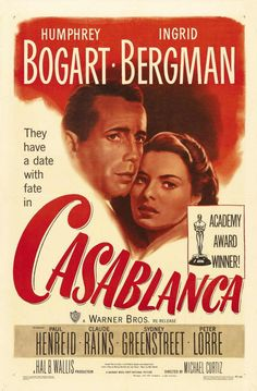 'Casablanca' - (Humphrey Bogart, Ingrid Bergman - Glossy Print Taken From A Rare Vintage Movie / Film Poster Old Movie Posters, Classic Movie Posters, Cinema Posters, Movie Poster Art, Classic Movies, Old Movies, Vintage Movies, Great Movies, Humphrey Bogart