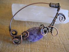 Amethyst Quartz Oval Bead Wrapped in Oxidized by OurFrontYard, $22.11