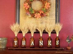 "Use clear glass from Dollar tree with ""Thanks"" on one side, ""jingle"" on the other.  Use fall decor for one, candy canes or holly & twigs for the other.:"