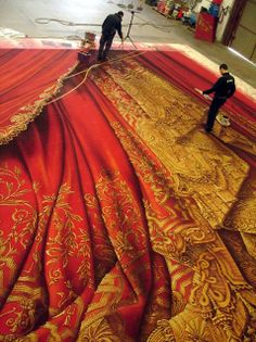 Huge trompe l'oeil curtains for a theater.