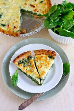 Spinach and feta quiche...just add tomatoes and it's perfect