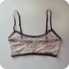 Ivory and Chocolate Lace Cami Bralette por katastrophicdesign, $36.00