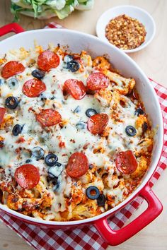 Cauliflower Pepperoni Pizza Casserole I bet it could be made even healthier with turkey pepperoni and pizza toppings like mushrooms, peppers,and onions.