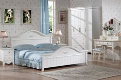 Country style furniture - 1.5m white bed with slat base - MelodyHome.com
