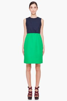 MARC BY MARC JACOBS Navy & Green Tate Twill Dress