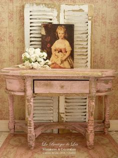 Gustavian console, Shabby pink, Furniture for French miniature dollhouse in 1:12th scale