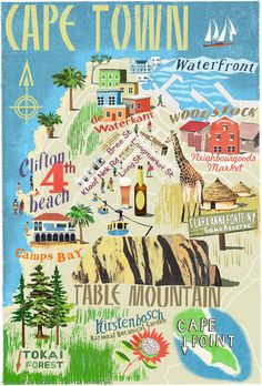 Lugares por visitar en / CapeTown Illustrated Map Idea: buy illustrated maps of each place visited. Travel Maps, Africa Travel, Africa Map, Le Cap, Cape Town South Africa, Thinking Day, Vintage Travel Posters, Historical Sites, Travel Inspiration