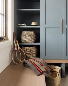 SM Ranch House: The Mudroom, Laundry Room, and Powder Bath Country Look, Mudroom Laundry Room, Mudroom Cabinets, Meme Design, Studio Mcgee, Cabinet Colors, Art Cabinet, Storage Baskets, Storage Shelves