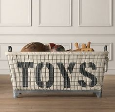 This industrial toy basket is an all-time favorite, particularly for more masculine play spaces. Perhaps there is not a better open storage piece for a little boy's playroom than this.