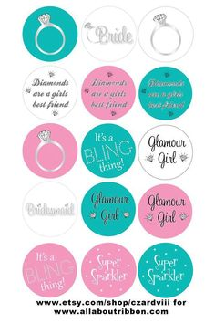 Bridal shower cute bottle cap images. These would make really cute bottle cap wine glass charms!