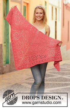 Free knitting patterns and crochet patterns by DROPS Design Baby Knitting Patterns, Shawl Patterns, Lace Patterns, Lace Knitting, Crochet Patterns, Finger Knitting, Knitting Tutorials, Knitted Poncho, Knitted Shawls