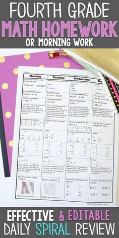 Fourth Grade math homework or morning work that gives a every day evaluation of ALL grade math requirements. This Grade spiral math evaluation useful resource is absolutely EDITABLE and comes with reply keys and a pacing information. Fourth Grade Math, 4th Grade Classroom, Classroom Ideas, Math Tutor, Teaching Math, Teaching Tips, Maths, Multiplication Games, Math Games