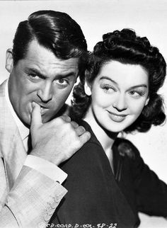 Cary Grant and Rosalind Russell in a promotional still for His Girl Friday, 1940.