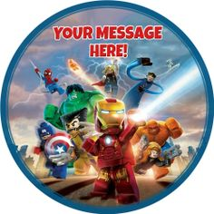 """A 7.5"""" Round Lego Marvel Super Heroes Personalised Cake Topper ICING"""