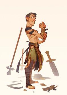 Young Gladiator, Max Grecke on ArtStation at https://www.artstation.com/artwork/qPgeP