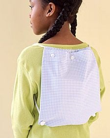 Get a load off Dad's back by turning one of his button-downs into a sweet knapsack for his little girl.