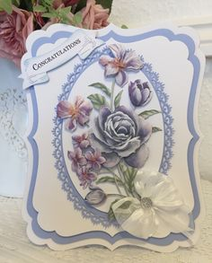 Tattered Lace Cards, 3d Cards, Create And Craft, Pretty Cards, Lace Flowers, Lace Design, Hobbies And Crafts, Party Gifts, Making Ideas