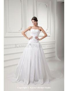 Taffeta Strapless A-line Sweep Train Embroidered Wedding Dress