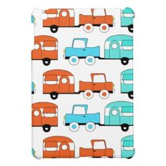 Retro Camping Trailer Turquoise Orange Vintage Car iPad Mini Case