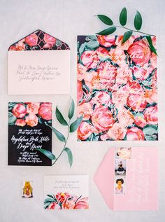 floral wedding invites, photo by Milton Photography http://ruffledblog.com/blooming-wedding-inspiration #weddinginvitations #stationery #invitations