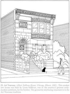 Creative Haven The American House Architecture Coloring Book By A G Smith 23 Art Nouveau Albert Sullivan Chicago Illinois 1892