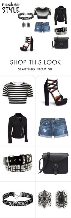 """Rocking"" by nadia-n-pow on Polyvore featuring Topshop, Aquazzura, AG Adriano Goldschmied, New Look, rockerchic, rockerstyle and plus size clothing"