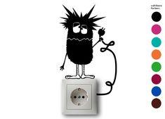 Wandtattoo - Steckdose Monster - Wandtatoo, Lichtschalter - ein Designerstück von zackzack bei DaWanda