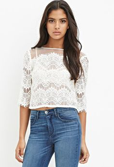 Organza Lace Boxy Top | Forever 21 - 2000156756