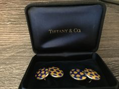 Tiffany & Co sterling silver and enamel cufflinks
