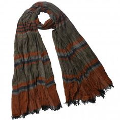 Heritage Multi-Color Stripes and Color Blocks Crinkled 100% Rayon Long Scarf