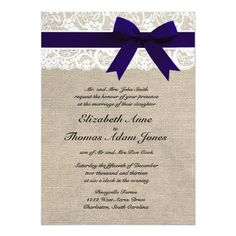 Custom Navy and White Lace and Burlap Wedding Invite