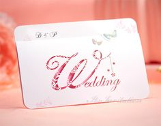 Personalized Pink Laser Cut n  Butterfly Wedding Invitations - - GM175 - - RSVP with Envelope Seal  - - Free Shipping Promotion