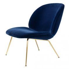 Beetle Lounge Chair Navy Velvet U0026 Brass