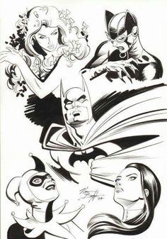 Batman and The Girls by Norm Breyfogle Batman Comic Books, Comic Movies, Batman Comics, Comic Book Heroes, Comic Books Art, Comic Art, Dc Comics, Black White Art, Black And White Drawing