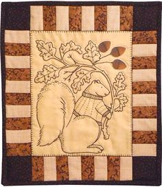 """Sweet Stitches Kit - Little Acorns - September: Celebrate fall with this adorable little squirrel!  This autumn embroidery kit includes the pattern and all fabric to complete the kit measuring 13"""" X 15"""".  Embroidery floss not included."""