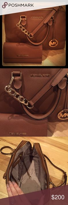 Authentic MK Saffiano Leather bag and wallet Purchased from another seller but haven't used, in excellent condition.  Bag comes with strap and wallet is like new, with check book insert. Michael Kors Bags Shoulder Bags