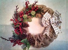 Winterberry Burlap Wreath by JandJPrettyThings on Etsy