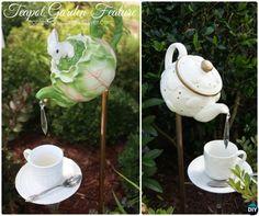 DIY Whimsical Teapot Garden Feature -20 Colorful Garden Art DIY Decorating Ideas Instructions