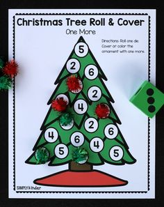 Christmas Tree Roll & Cover Christmas Math Games – Simply Kinder Christmas Tree Roll and Cover Free Math Game from