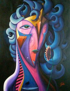 Artist : Pablo M / Title : Mujer Azul con Girasol / Dimensions : 200 x 140 cms / Price : MXN $43,000 / Status : Sold / Technique : Mixed on Canvas / Year : 2015