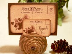 Rustic Wedding Table Number Place Card Favor Tag Sample Pack Sepia Roses Postcard