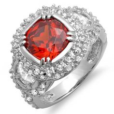 4.50 CT Three Stone Sterling Silver Ladies Round Deep Red Ruby Cubic Zirconia CZ Engagement ring 0.55inch wide $109.88