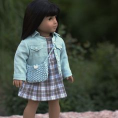 Robin's Egg Blue Linen Jean Jacket Plaid and Teal by foxandfamily. Made with the LJC Denim Jacket pattern, found at http://www.pixiefaire.com/products/denim-jacket-18-doll-clothes. #pixiefaire #libertyjane #denimjacket