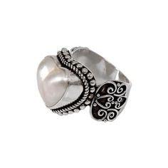 NOVICA Ornate Cocktail Ring with Heart Shaped White Mabe Pearl ($40) ❤ liked on Polyvore featuring jewelry, rings, cocktail, white, band jewelry, heart shaped rings, pearl jewelry, novica jewelry ve pearl rings