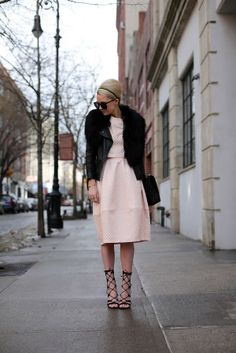 pink textured midi skirt and top from topshop, black moto jacket. look  via Atlantic-Pacific