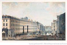 Paris, XVIIIème siècle - Le Pont au Double, l'Hôtel-Dieu et le Petit Châtelet. Dessin de Victor-Jean Nicolle